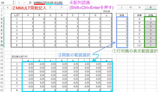 Excelでの行列積