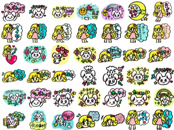 Colorful stickers of rabbit and girl