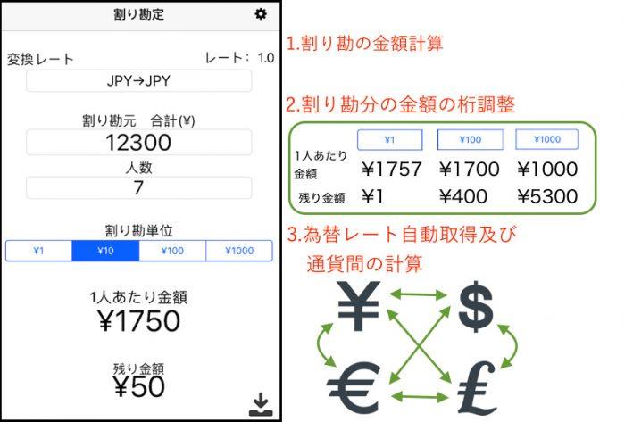 割り勘の金額計算 割り勘分の金額の桁調整 為替レート自動取得及び通貨間の計算